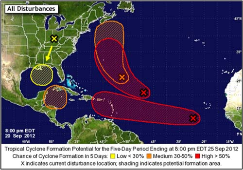 Five Day Potential Hurricane Forecasts