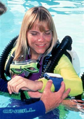 Cathryn  Castle during photo shoot for Draeger rebreathers in 1995