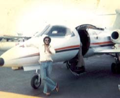 Beside a private jet in St Thomas in 1979