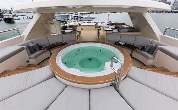 Safira Flybridge Featuring Jacuzzi Lounging Areas and Wet Bar