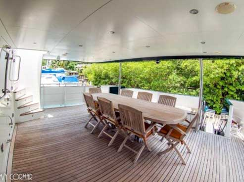 Expedition Yacht for Sale Aft Deck Dining
