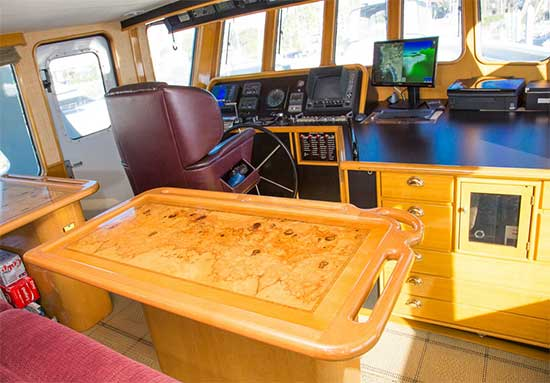 Seaton 64 Expedition Yacht Voyager Pilot House Burl Wood Table Detail